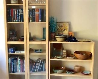 Glass door cabinet , bookcase, great pottery pieces, books and more