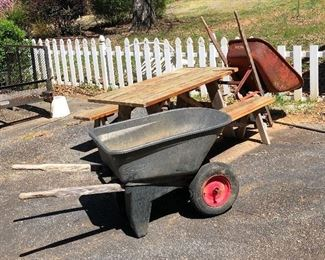 Great picnic table and two wheelbarrows. All ready for some summer fun!