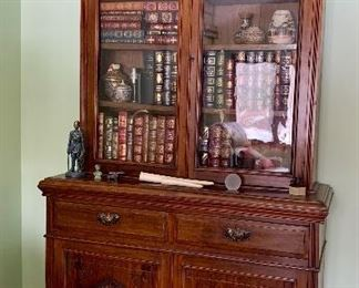 Gorgeous Antique Hutch with Carvings on bottom and Glass Doors on Top