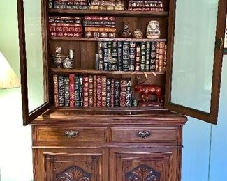 Amazing Antique Bookcase Cabinet!  Gorgeous Detail Carving and Wavy Glass.  Stately Piece!  See all photos of drawer construction too.