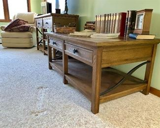 Bassett Coffee Table with Wrought Iron and Matching Sofa Table / Table