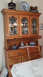Oak dining room 2 piece hutch  Top is removeable $200