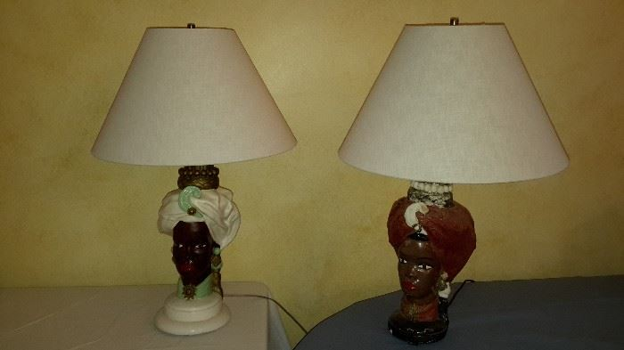 Vintage Ceramic Lamps, one with cloth turbine   $75 Pair