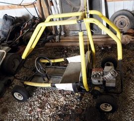 Black Hawk 2 Person Go-Cart With Roll Cage, Bench Seat And Briggs And Stratton Pull Start Motor