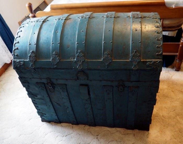 "Antique Camelback Steamer Trunk, 30"" x 34.5"" x 22"""