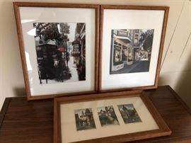 A pair of photographs and framed cards