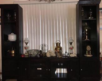 antique lamps, oil lamps, antique clock