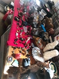 Lots of antique figureines bone china glass marvel coal and much more