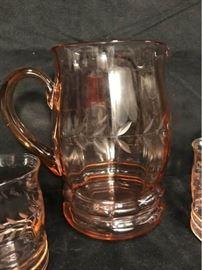 H011 Vintage Peach Glass Pitcher Set
