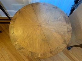 "3. Biedermeyer Style Oak Pedestal Table w/ Black Painted Base and Adjustable Height (36"") 1-19"" leaf"