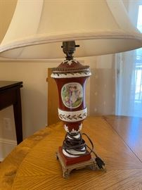 """5. Pair of Antique Hand Painted Ceramic Table Lamps (26"""")"""