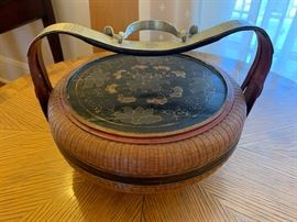 """4. Antique Hand Painted Chinese Basket w/ Iron Handle (14"""" x 9"""")"""