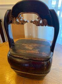 "6. Antique Black Chinese Wooden Basket (10"" x 16"")"