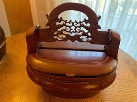 "7. Antique Chinese Wood Basket (13"" x 12"")"