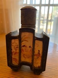 """8. Antique Metal and Hand Painted Bottle (5"""" x 7"""")"""
