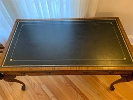 """9. Antique Carved Desk w/ Leather Inset Top w/ Claw Feet and 3 Drawers (56"""" x 33"""" x 30"""")"""