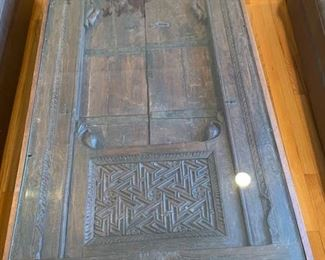 """21. Carved Wood Window Frame From a Thai Temple Made into Coffee Table w/ Glass Top (36"""" x 69"""" x 19"""")"""