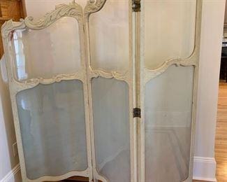"""58. Antique French 3 Panel Dressing Screen w/ Beveled Glass and Carved Wood c. 1900's (72"""" x 75"""")"""