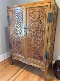 """86. Antique Carved Chinese Armoire 4 Drawers Inside (51"""" x 26"""" x 74"""")"""