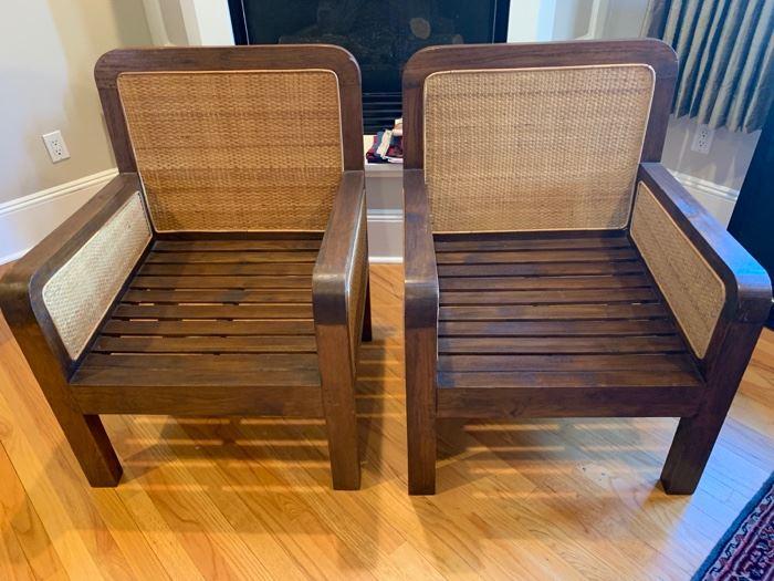"84. Pair of Jameson Whyte Teak Chairs w/ Wicker Back (28"" x 27"" x 36"")"