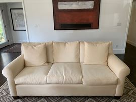 "7. White 3 Cushion Sofa (85"" x 36"" x 34"")"