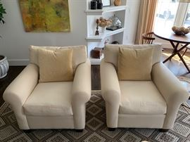 "6. Pair of White Club Chairs (36"" x 36"" x 34"")"