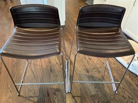 "10. Pair of Catifa 46 Soft Leather Low Back Counter Stools on Chrome Sled Base (19"" x 20"" x 26"")"