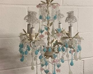 "60. Blue and Pink Glass Drop 4 Arm Chandelier (28""h)"
