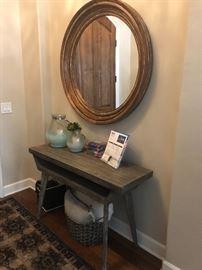 Pottery barn mirror, table basket etc