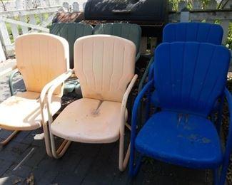 Retro Metal Patio Glider & Chairs