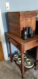 egg crate, old turned leg side table, tea-set.