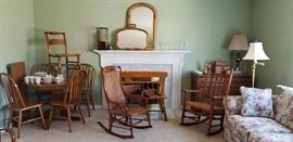 Pedestal table & chairs, rocking chairs, a maple bench