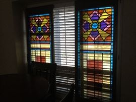 """Custom Doors made from Stained glass imported from mid-1940's Austrian Church.  Each door measures 28"""" wide x 80"""" high"""