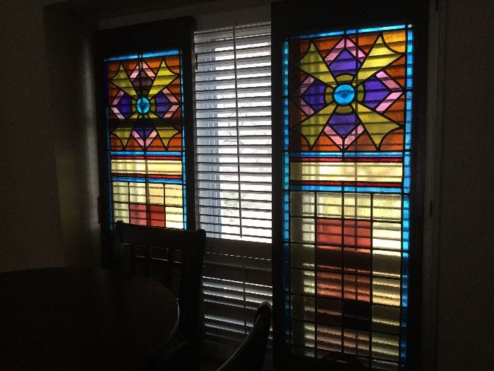 "Custom Doors made from Stained glass imported from mid-1940's Austrian Church.  Each door measures 28"" wide x 80"" high"