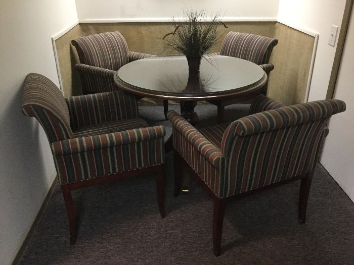 "42"" round conference table and 4 chairs"