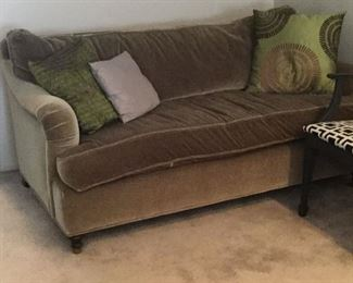 "Custom Down Filled Olive Green Velvet Sofa:  64"" wide x 38"" deep x 30"" high"