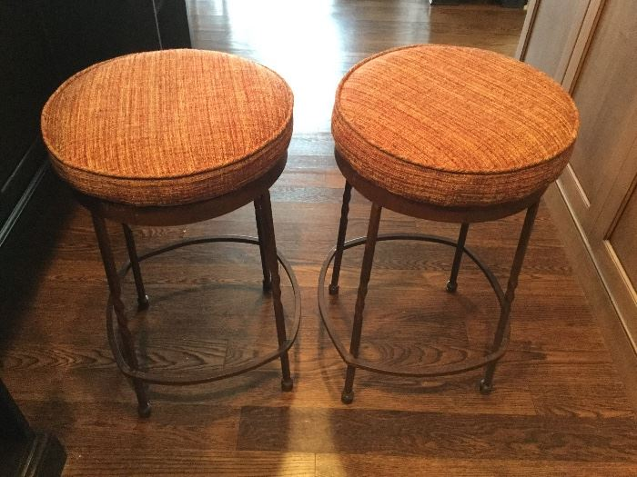 "Heavy Wrought Iron Base Bar Stools:  each 26"" high"