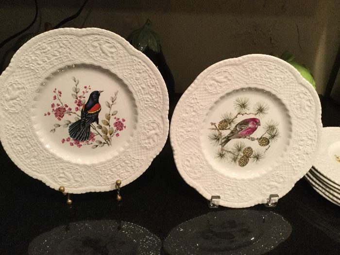 Set of 8 different Royal Cauldon Bristol Ironstone Bird Plates
