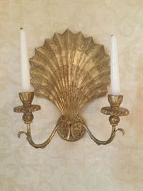 Pair of Gilded wood shell candle sconces