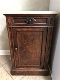 Marble top cupboard veneer & wood Antique