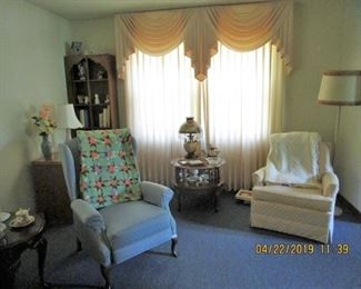 Beautiful CLEAN furniture, Custom Made Drapes will be For Sale...Cresent Fine Furniture, Tables, Coffee Table, 2 lighted Curio's...Questions:  615-545-9062...2 Addition Recliner's plus 2 Lazy Boy Lift/Recliner......