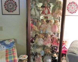 Beautiful Sliding Door Curio w/light... Loaded with Doll Collection, Barbie's, etc...