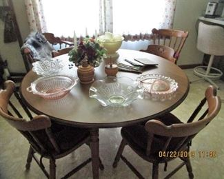 Tell City Maple Dining Table with 6 Chairs, Bar Stools, Depression Glassware, Pressed Glassware, Moon/Star Collection....etc.