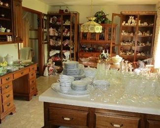 2 Kitchens in this home.....Left Side is glass enclosed cabinet is loaded with Beautiful DOLL Collection.. German, Vintage & Antique Dolls... Great looking Maple Hutch, Red Moon/Star Collection Glassware, HUGE Cat Collection  to the right side of Hutch LOADED with Cat Collection...Make plans to spend time with us at this 4 Day Sale.... All must be SOLD to settle the Estate......Cash Only...