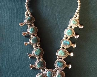 Stunning turquoise & silver squash blossom  necklaces- Must see.