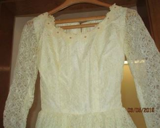 VINTAGE HOME-MADE WEDDING DRESS SMALL