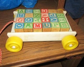 vintage wagon with blocks toy