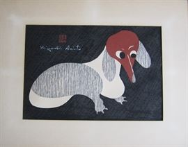 Kiyoshi Saito Dachshund woodblock - 17'x12'