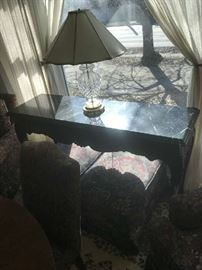 Side board, lamp Table with marble top, maker not known