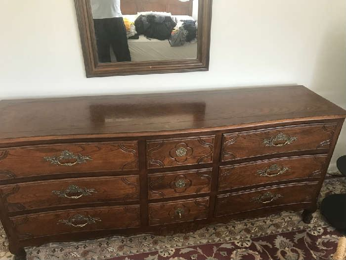 Baker, antique bedroom set, chest, headboard/ King, two matching side tables for King bed/ #50+ yrs old